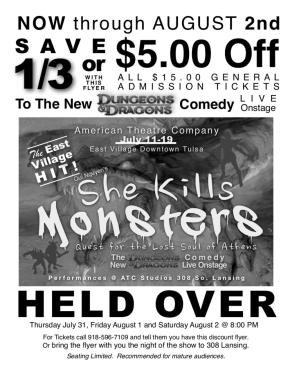 'She Kills Monsters' Extended For An Extra Week!
